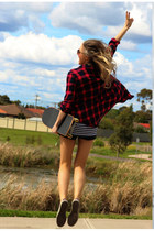 ruby red Zara shirt - black skort shorts Zara shorts - white Justyna G t-shirt