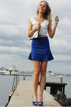 blue Choies skirt - silver metallic clutch Choies bag - cream Justyna G top