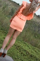 beige Jeffrey Campbell boots - orange Justyna G dress