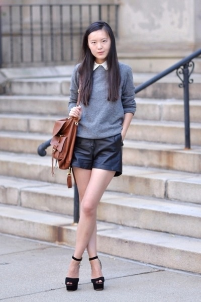 Leather shorts shorts - H&amp;M sweater - H&amp;M shirt