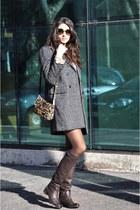 beige mauro grifoni coat - dark brown Prada boots - nude Miu Miu bag