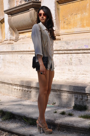 Enrico Lugani shoes - ivory vintage shirt - dark brown Chanel bag - nude DIY sho