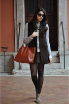 dark brown untitled skirt - silver cachemire vintage sweater