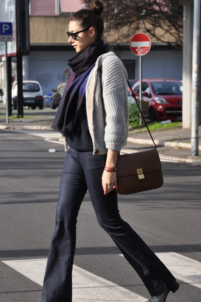 brown Celine bag - periwinkle Etoile isabel marant sweater - navy Burberry scarf