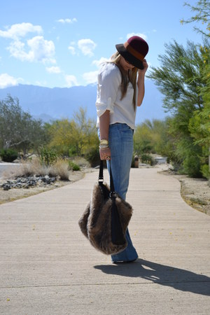 Seven jeans - Urban Outfitters hat - H&M bag - LAMB wedges - Michael Kors watch