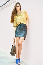 gold Zara sweater - gold Romwecom necklace - black leather H&M skirt