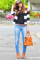 sky blue denim Diesel jeans - light orange romwe bag - black cotton Mango top