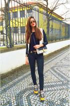 white Choies jacket - black cotton Mango sweater - yellow Reebok sneakers