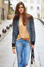 Sky-blue-denim-diesel-jeans-black-leather-pepe-jeans-jacket