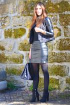 black Zara jacket - black H&M skirt