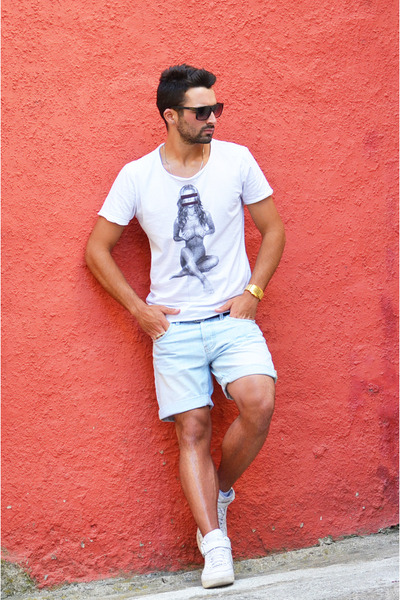gold Tokyoflash watch - sky blue denim Zara shorts - white nike sneakers