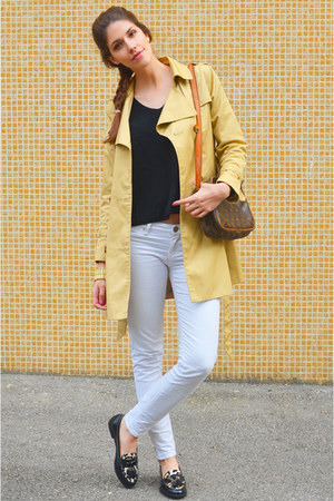 beige H&M jacket - white citizens of humanity jeans