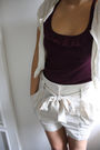 Beige-tommy-hilfiger-cardigan-purple-top-beige-h-m-shorts