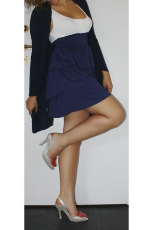 blue Tally Weijl dress - blue cardigan - white Melissa shoes