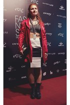 ruby red Saska Fashion coat - black Rihanna for River Island boots