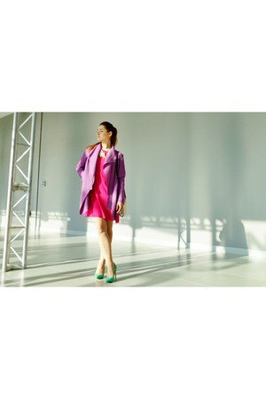 hot pink Saska Fashion dress - purple Saska Fashion coat - dark khaki Tous bag