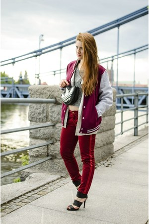 maroon Streetstuff jacket - silver Saska Fashion jacket - black adidas bag