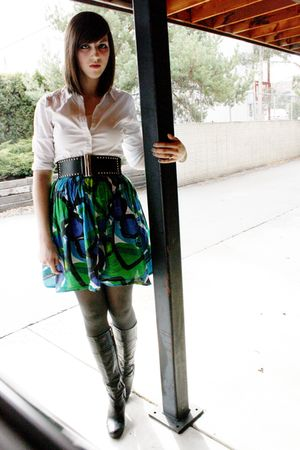 white delias blouse - black Famous Footwear boots - green unkown brand dress