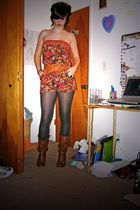 brown Debb boots - orange Ross dress - brown Wetseal belt - black Forever21 acce