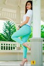 Turquoise-bershka-jeans-blue-h-m-belt-white-shirt-forever-21-top