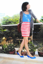 blue shoes - pink cotton on skirt - blue Mango top - silver diva accessories - g