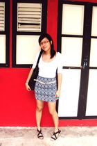 black cotton on skirt - white Dorothy Perkins top - black shoes - black H&M bag