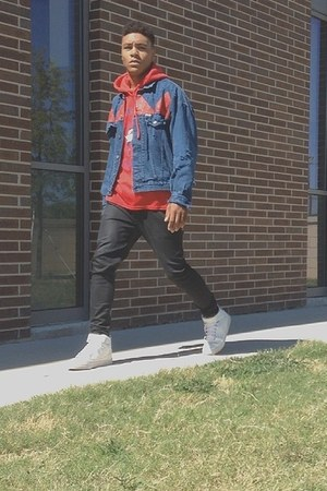 navy denim jacket Thrifted Vintage Guess jacket - black wax coated PacSun jeans