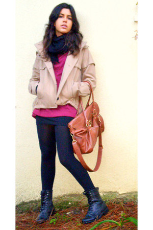 burnt orange Primark bag - beige Zara coat - black New Yorker boots - black H&M