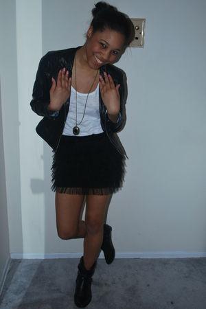 black calvin klein jacket - white American Eagle shirt - black Forever 21 skirt