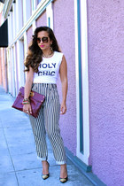 t-shirt - Miu Miu sunglasses - Zara pants - cap toe Michael Kors heels