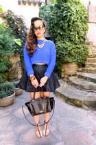 Topshop skirt - Topshop sweater - Valentino bag - t-strap heels Zara heels