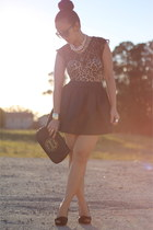 tory burch purse - leopard corset Victorias Secret bra - lace top H&M top