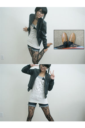 black jacket - white Forever 21 t-shirt - Pac Sun shorts - black tights - brown