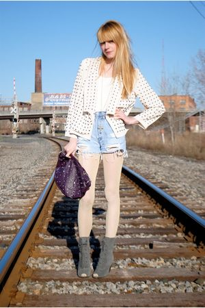 studded Forever 21 bag - Deena & Ozzy shoes - gold H&M tights