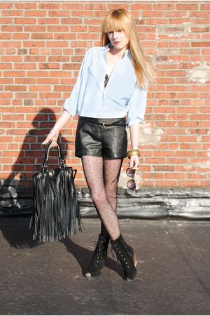 vintage shirt - Forever 21 shorts - Urban Outfitters tights - Deena & Ozzy boots