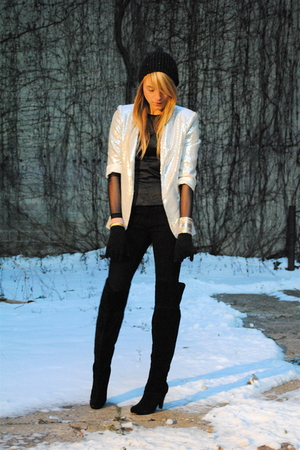 black boots - black Forever 21 pants - silver Forever 21 blazer - black H&amp;M hat