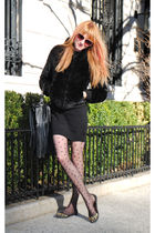 black H&M jacket - Urban Outfitters tights - H&M dress - H&M purse