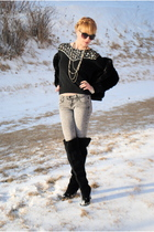 black boots - gray Forever 21 jeans - sweater - H&M jacket - Forever 21 necklace