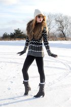 black Forever 21 boots - American Apparel leggings - gloves - H&M - Forever 21 s