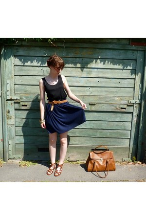 brown H&M bag - black H&M top - navy H&M skirt - brown H&M sandals