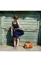 brown H&M bag - black H&M top - navy H&M skirt - brown H&M sandals