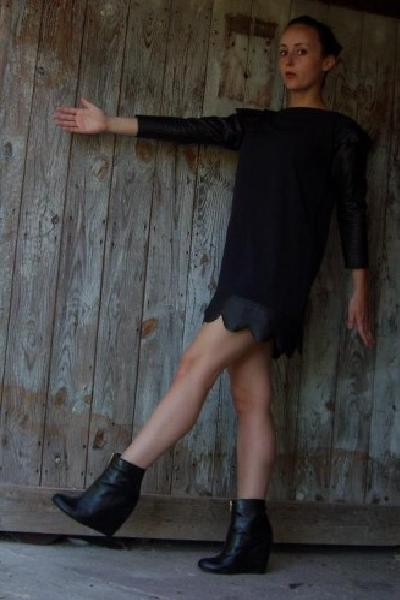 black homemade dress - black H&M shoes