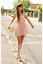 pink vintage dress - white Grandmas shoes - beige Urban Outfitters hat