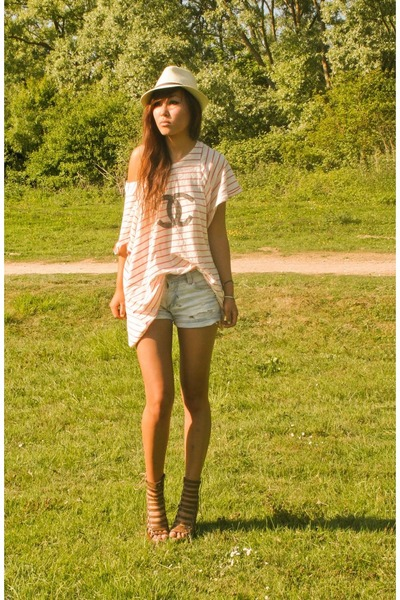 red DIY shirt - brown asos shoes - beige Urban Outfitters hat