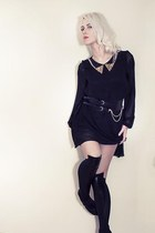 black spiked collar Love dress - black leather detail stockings
