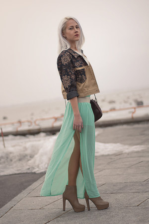 aquamarine chiffon inlovewithfashion skirt - tan boots - dark brown jacket