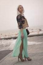 aquamarine chiffon inlovewithfashion skirt - tan boots - dark brown jacket