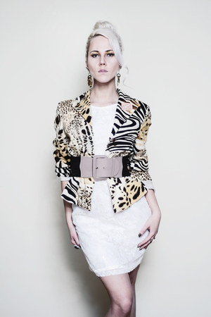 animal print Harve Benard blazer - white lace Kristines Collection dress