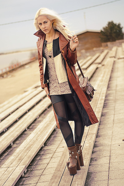 Zara jacket - beige lace H&M dress - burnt orange leather coat