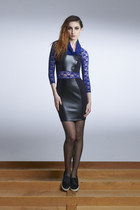 Dancing Out In Space Dress- Lace Raglan Cowl Neck Leather Dress